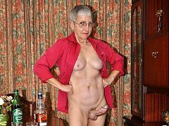 Short gray hair granny with cock