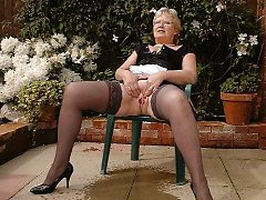 Beautiful mature lady outdoor