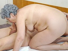 Amateur wrinkly grandma is sucking dicks in many different positions