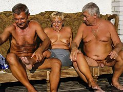 Horny grandma with two old grandfathers compilation
