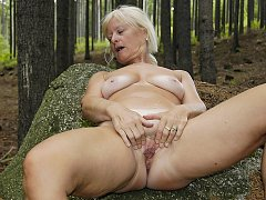 Dirty masturbating in the forest